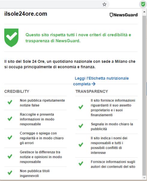 NewsGuard criteri di valutazione